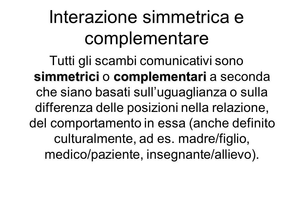 Interazione simmetrica e complementare simmetricicomplementari Tutti gli scambi comunicativi sono simmetrici o complementari a seconda che siano basat