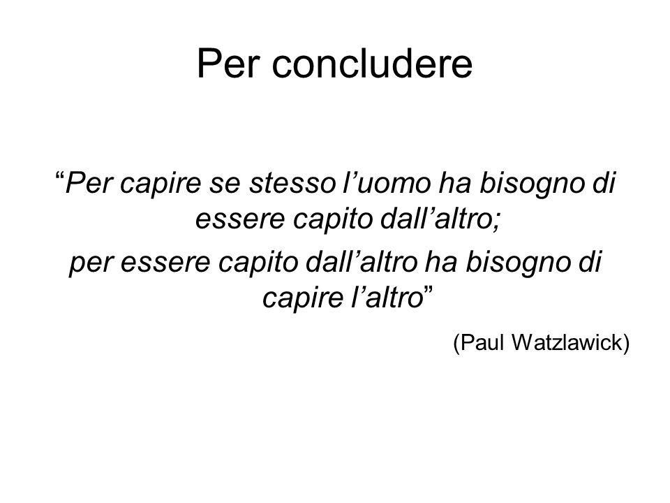 """Per concludere """"Per capire se stesso l'uomo ha bisogno di essere capito dall'altro; per essere capito dall'altro ha bisogno di capire l'altro"""" (Paul W"""
