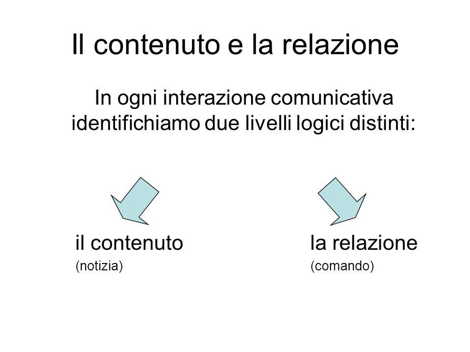 Il contenuto e la relazione In ogni interazione comunicativa identifichiamo due livelli logici distinti: il contenutola relazione (notizia)(comando)