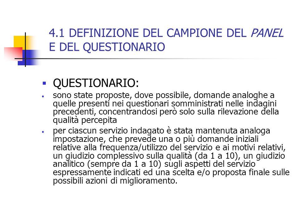 4.1 DEFINIZIONE DEL CAMPIONE DEL PANEL E DEL QUESTIONARIO  QUESTIONARIO: sono state proposte, dove possibile, domande analoghe a quelle presenti nei