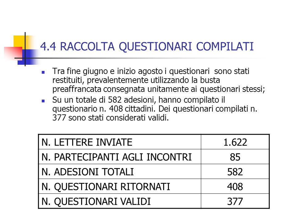 4.4 RACCOLTA QUESTIONARI COMPILATI Tra fine giugno e inizio agosto i questionari sono stati restituiti, prevalentemente utilizzando la busta preaffran