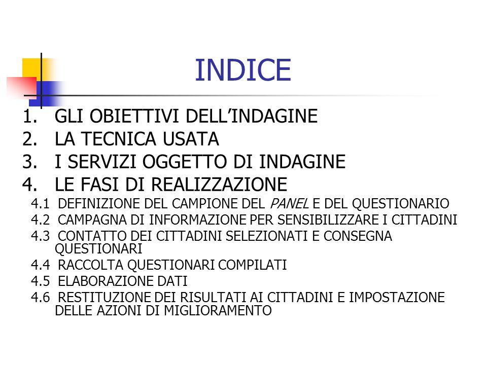 INDICE 1.GLI OBIETTIVI DELL'INDAGINE 2.LA TECNICA USATA 3.I SERVIZI OGGETTO DI INDAGINE 4.LE FASI DI REALIZZAZIONE 4.1 DEFINIZIONE DEL CAMPIONE DEL PANEL E DEL QUESTIONARIO 4.2 CAMPAGNA DI INFORMAZIONE PER SENSIBILIZZARE I CITTADINI 4.3 CONTATTO DEI CITTADINI SELEZIONATI E CONSEGNA QUESTIONARI 4.4 RACCOLTA QUESTIONARI COMPILATI 4.5 ELABORAZIONE DATI 4.6 RESTITUZIONE DEI RISULTATI AI CITTADINI E IMPOSTAZIONE DELLE AZIONI DI MIGLIORAMENTO