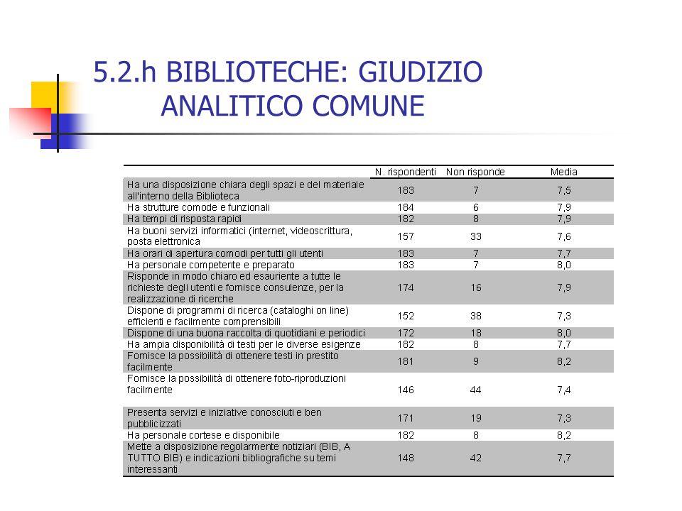 5.2.h BIBLIOTECHE: GIUDIZIO ANALITICO COMUNE