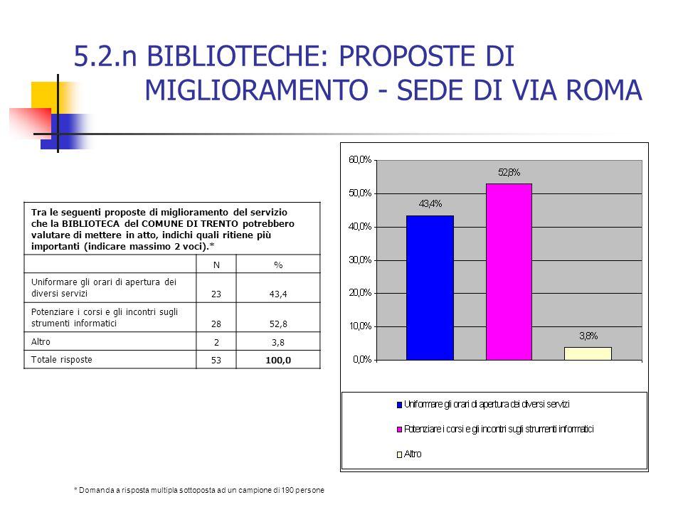 5.2.n BIBLIOTECHE: PROPOSTE DI MIGLIORAMENTO - SEDE DI VIA ROMA Tra le seguenti proposte di miglioramento del servizio che la BIBLIOTECA del COMUNE DI