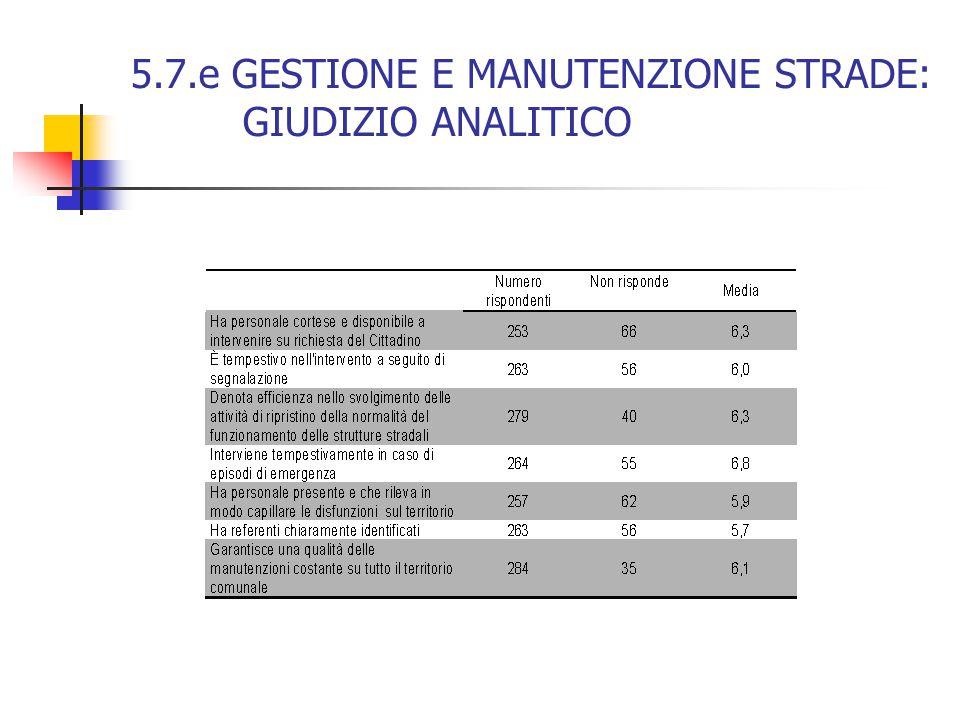 5.7.e GESTIONE E MANUTENZIONE STRADE: GIUDIZIO ANALITICO
