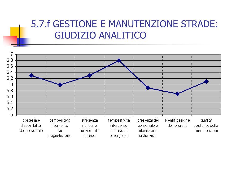 5.7.f GESTIONE E MANUTENZIONE STRADE: GIUDIZIO ANALITICO