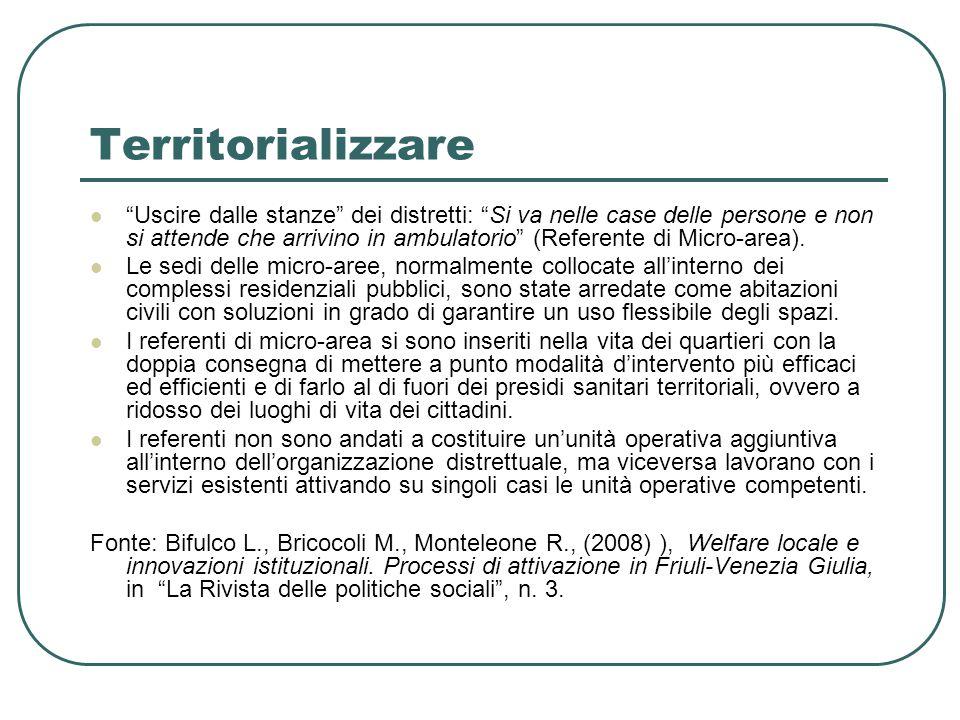 Territorializzare Uscire dalle stanze dei distretti: Si va nelle case delle persone e non si attende che arrivino in ambulatorio (Referente di Micro-area).