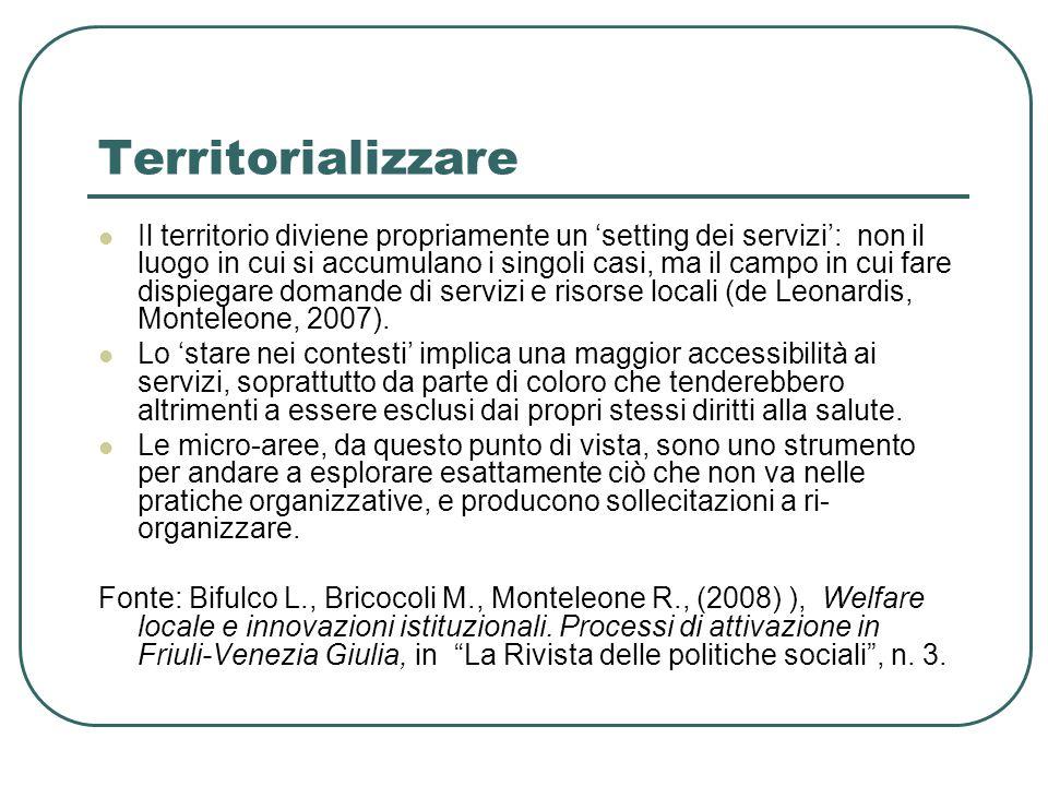 Territorializzare Il territorio diviene propriamente un 'setting dei servizi': non il luogo in cui si accumulano i singoli casi, ma il campo in cui fare dispiegare domande di servizi e risorse locali (de Leonardis, Monteleone, 2007).