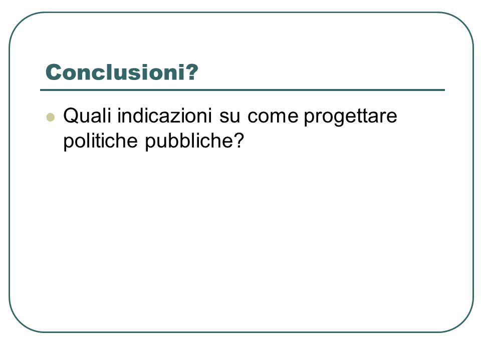 Conclusioni Quali indicazioni su come progettare politiche pubbliche
