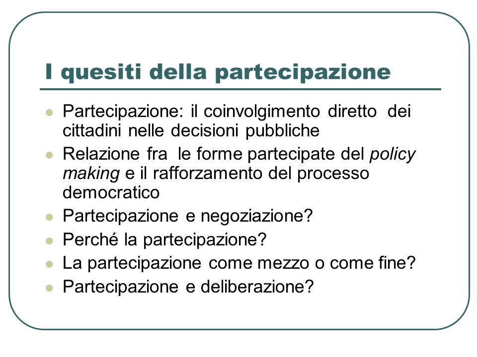 I quesiti della partecipazione Partecipazione: il coinvolgimento diretto dei cittadini nelle decisioni pubbliche Relazione fra le forme partecipate del policy making e il rafforzamento del processo democratico Partecipazione e negoziazione.