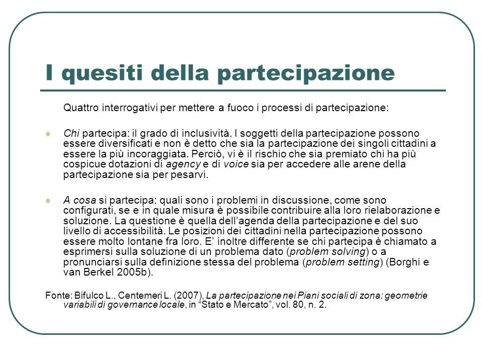 I quesiti della partecipazione Quattro interrogativi per mettere a fuoco i processi di partecipazione: Chi partecipa: il grado di inclusività.