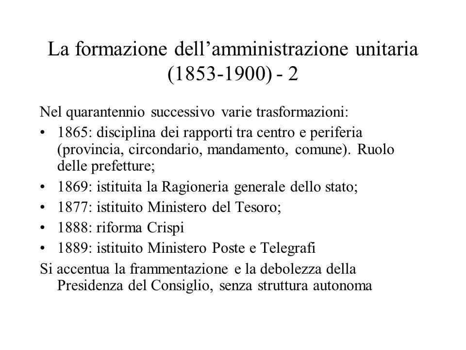 La formazione dell'amministrazione unitaria (1853-1900) - 2 Nel quarantennio successivo varie trasformazioni: 1865: disciplina dei rapporti tra centro e periferia (provincia, circondario, mandamento, comune).