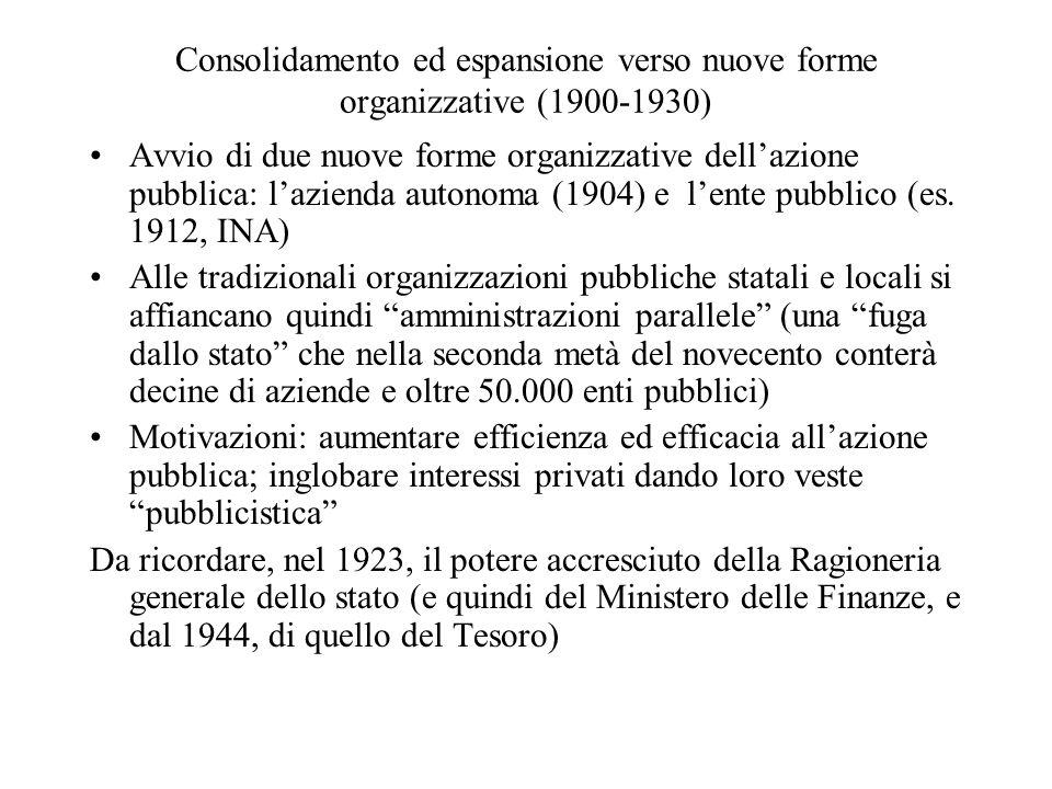 Consolidamento ed espansione verso nuove forme organizzative (1900-1930) Avvio di due nuove forme organizzative dell'azione pubblica: l'azienda autonoma (1904) e l'ente pubblico (es.