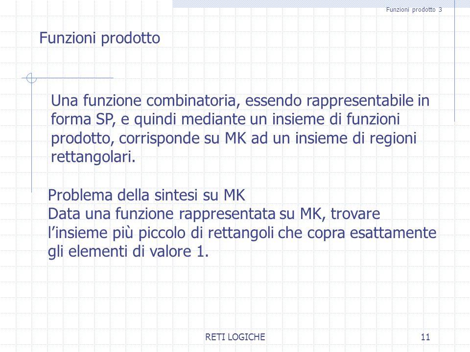 RETI LOGICHE11 Funzioni prodotto 3 Funzioni prodotto Una funzione combinatoria, essendo rappresentabile in forma SP, e quindi mediante un insieme di f