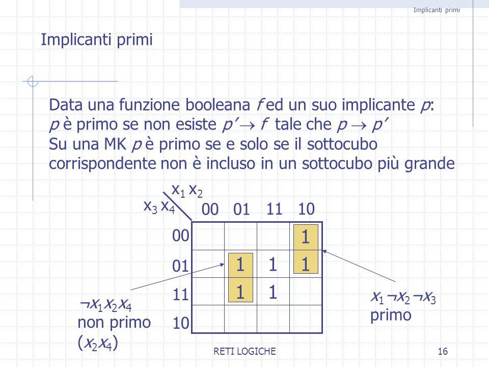 RETI LOGICHE16 1 Implicanti primi Data una funzione booleana f ed un suo implicante p: p è primo se non esiste p'  f tale che p  p' Su una MK p è p