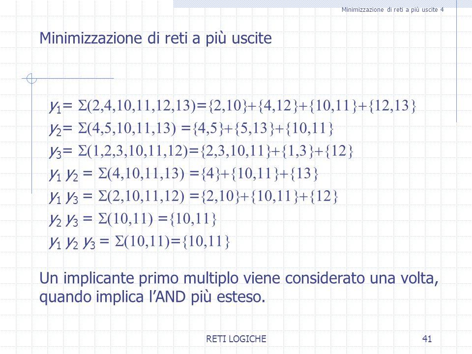 RETI LOGICHE41 Minimizzazione di reti a più uscite 4 Minimizzazione di reti a più uscite y 1 =  =  y 2