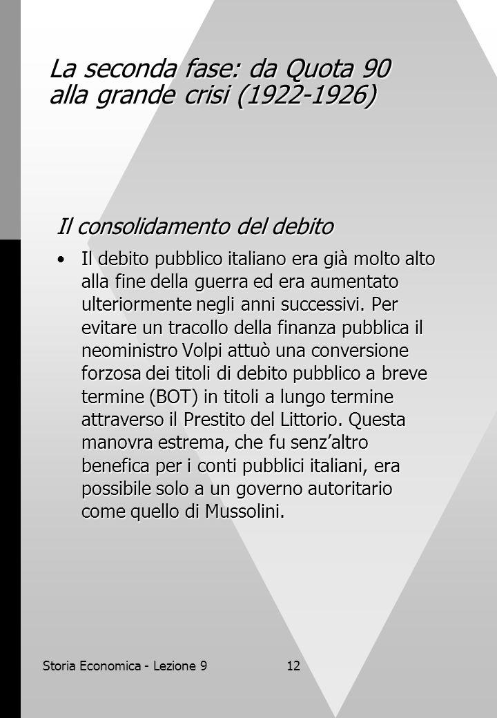 Storia Economica - Lezione 912 La seconda fase: da Quota 90 alla grande crisi (1922-1926) Il consolidamento del debito Il debito pubblico italiano era