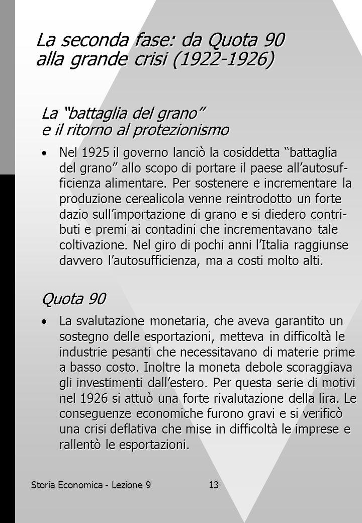 """Storia Economica - Lezione 913 La seconda fase: da Quota 90 alla grande crisi (1922-1926) La """"battaglia del grano"""" e il ritorno al protezionismo Nel 1"""
