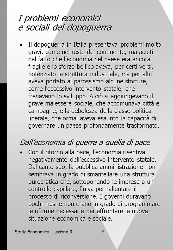 Storia Economica - Lezione 94 I problemi economici e sociali del dopoguerra Il dopoguerra in Italia presentava problemi molto gravi, come nel resto de