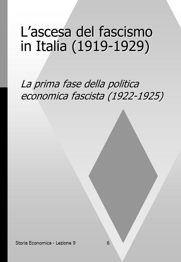 Storia Economica - Lezione 96 L'ascesa del fascismo in Italia (1919-1929) La prima fase della politica economica fascista (1922-1925)