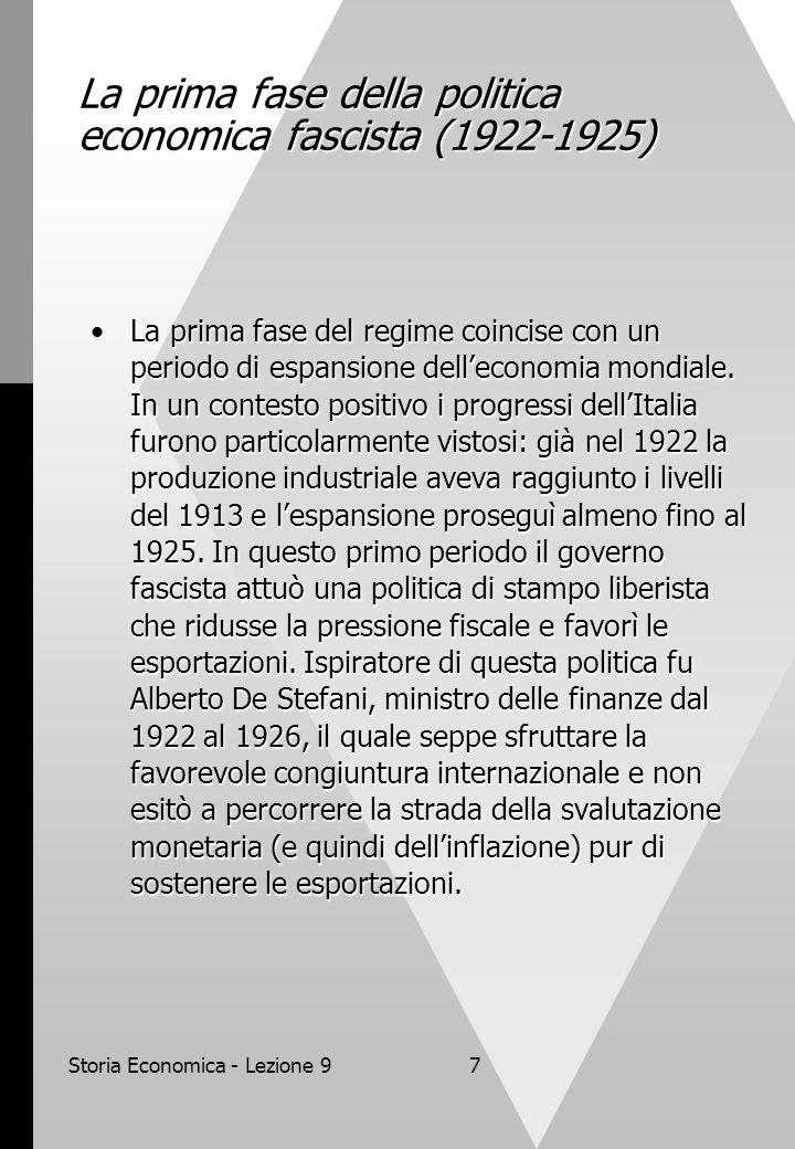 Storia Economica - Lezione 97 La prima fase della politica economica fascista (1922-1925) La prima fase del regime coincise con un periodo di espansio