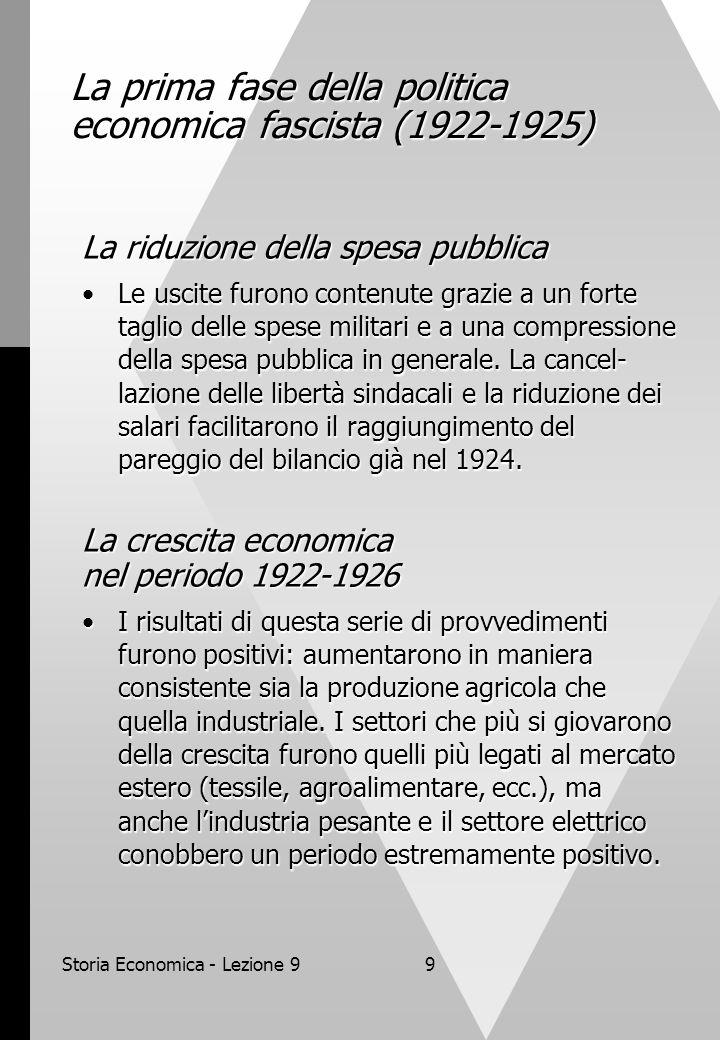 Storia Economica - Lezione 99 La prima fase della politica economica fascista (1922-1925) La riduzione della spesa pubblica Le uscite furono contenute