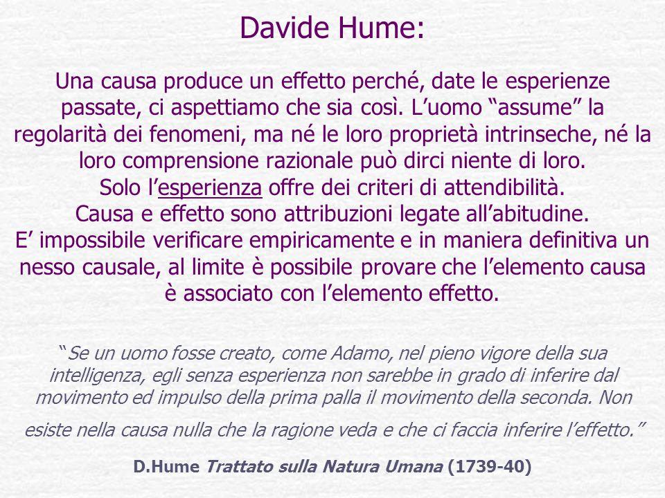 Davide Hume: Una causa produce un effetto perché, date le esperienze passate, ci aspettiamo che sia così.