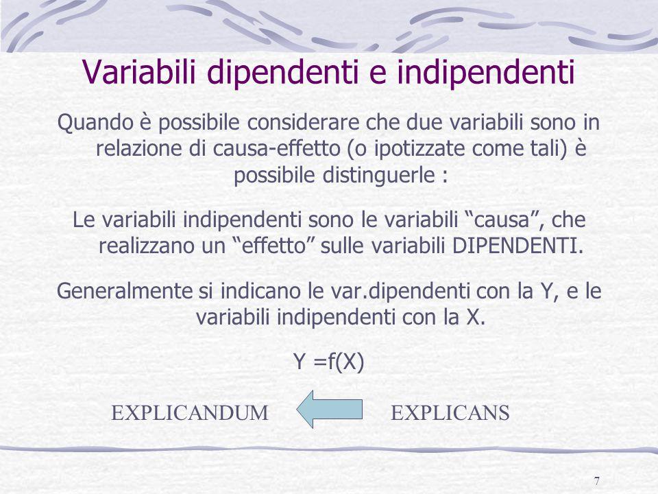 7 Variabili dipendenti e indipendenti Quando è possibile considerare che due variabili sono in relazione di causa-effetto (o ipotizzate come tali) è possibile distinguerle : Le variabili indipendenti sono le variabili causa , che realizzano un effetto sulle variabili DIPENDENTI.