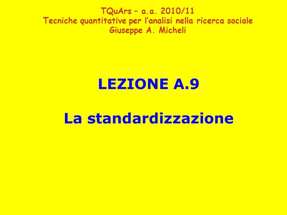 LEZIONE A.9 La standardizzazione TQuArs – a.a.