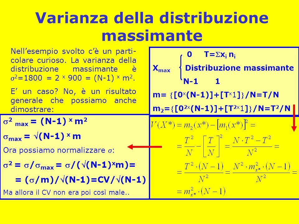 Varianza della distribuzione massimante Nell'esempio svolto c'è un parti- colare curioso.