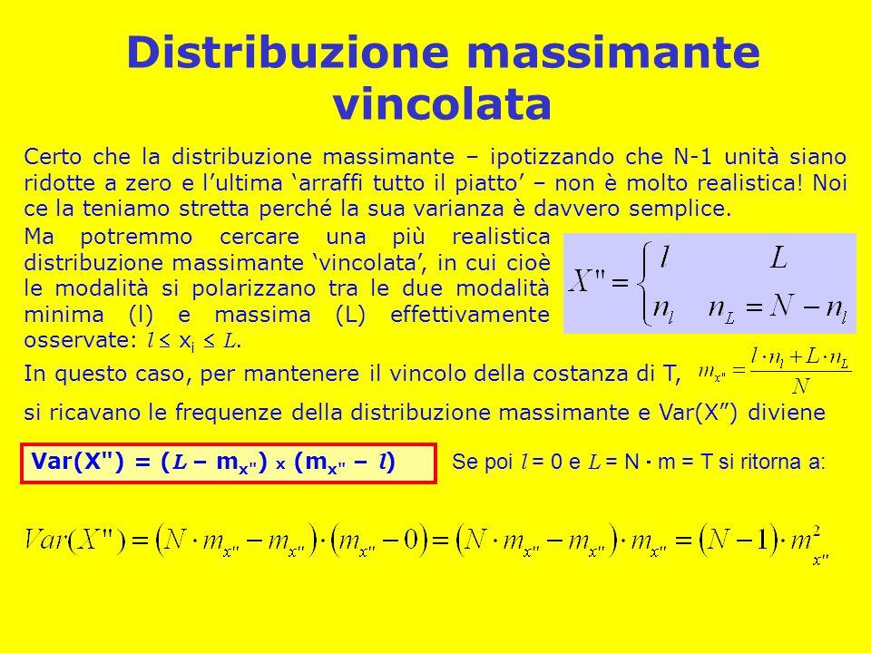 Distribuzione massimante vincolata Certo che la distribuzione massimante – ipotizzando che N-1 unità siano ridotte a zero e l'ultima 'arraffi tutto il piatto' – non è molto realistica.