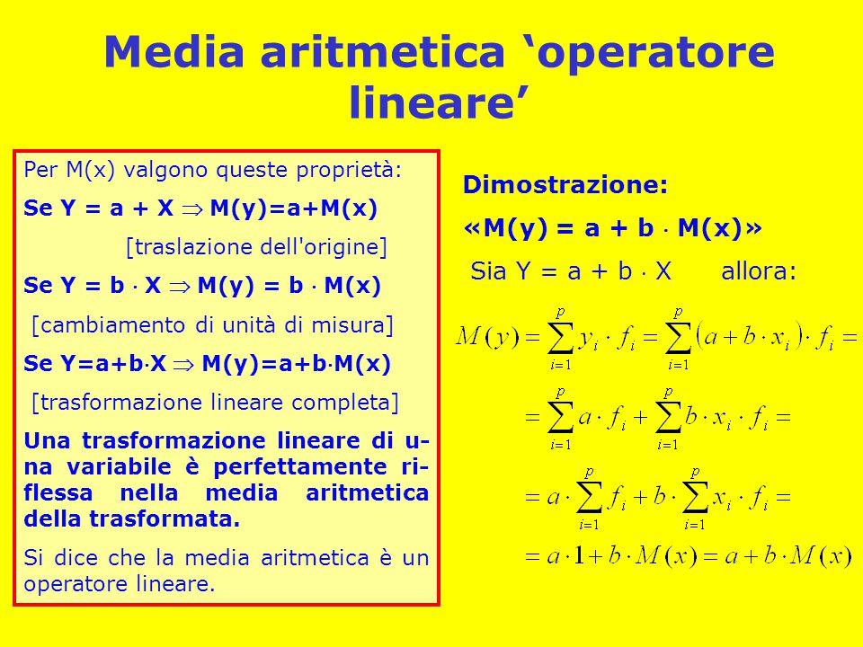Media aritmetica 'operatore lineare' Per M(x) valgono queste proprietà: Se Y = a + X  M(y)=a+M(x) [traslazione dell origine] Se Y = b  X  M(y) = b  M(x) [cambiamento di unità di misura] Se Y=a+bX  M(y)=a+bM(x) [trasformazione lineare completa] Una trasformazione lineare di u- na variabile è perfettamente ri- flessa nella media aritmetica della trasformata.