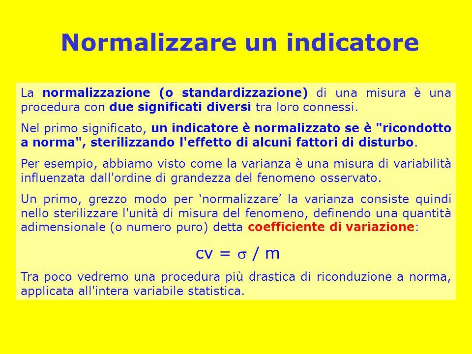 Normalizzare un indicatore La normalizzazione (o standardizzazione) di una misura è una procedura con due significati diversi tra loro connessi.