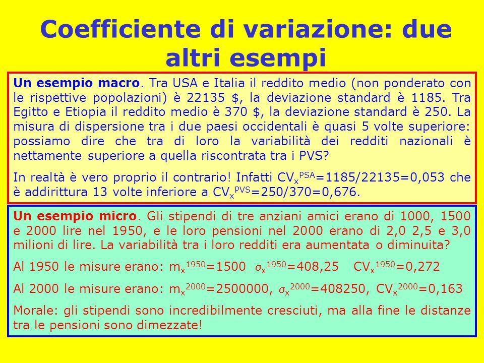 Coefficiente di variazione: due altri esempi Un esempio micro.