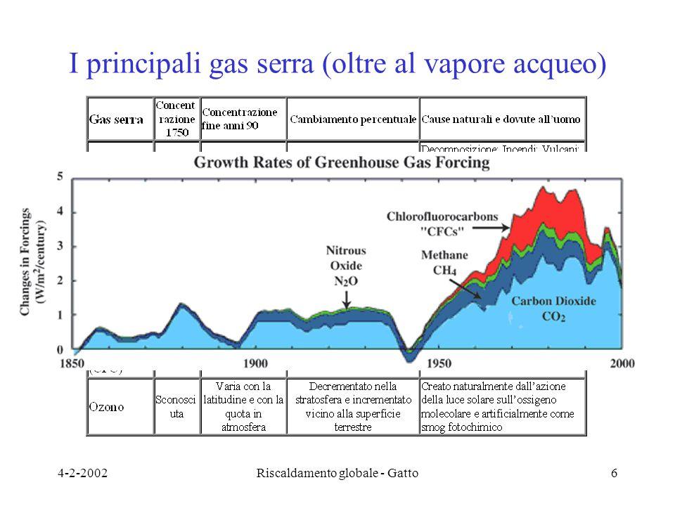 4-2-2002Riscaldamento globale - Gatto6 I principali gas serra (oltre al vapore acqueo)