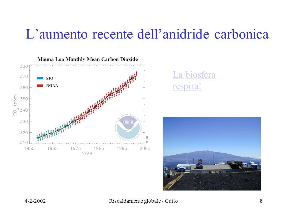 4-2-2002Riscaldamento globale - Gatto8 L'aumento recente dell'anidride carbonica La biosfera respira!