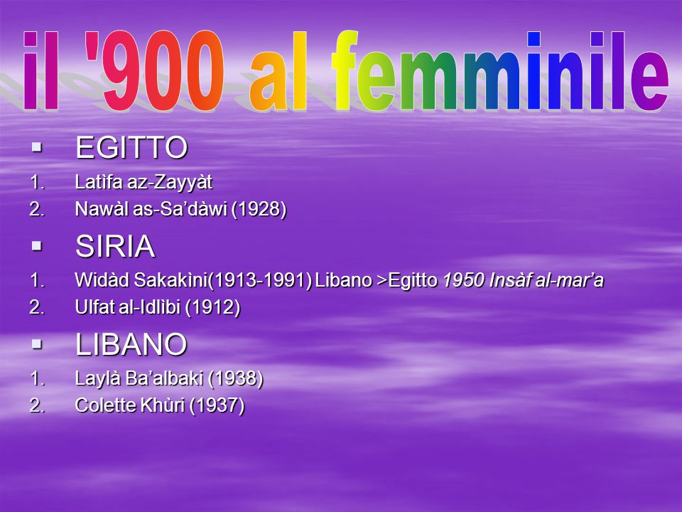  EGITTO 1.Latìfa az-Zayyàt 2.Nawàl as-Sa'dàwi (1928)  SIRIA 1.Widàd Sakakìni(1913-1991) Libano >Egitto 1950 Insàf al-mar'a 2.Ulfat al-Idlìbi (1912)