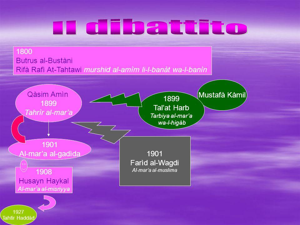 1800 Butrus al-Bustàni Rifà Rafì At-Tahtawi murshid al-amìm li-l-banàt wa-l-banìn Qàsim Amìn 1899 Tahrìr al-mar'a 1901 Al-mar'a al-gadìda Mustafà Kàmi