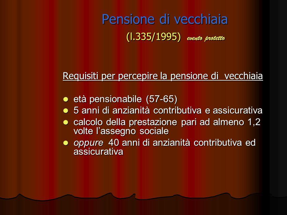 Pensione di vecchiaia (l.335/1995) soggetti protetti lavoratori subordinati del settore pubblico e privato lavoratori subordinati del settore pubblico