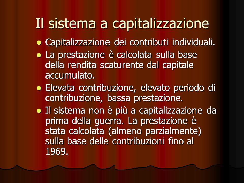 Il sistema a capitalizzazione Capitalizzazione dei contributi individuali.