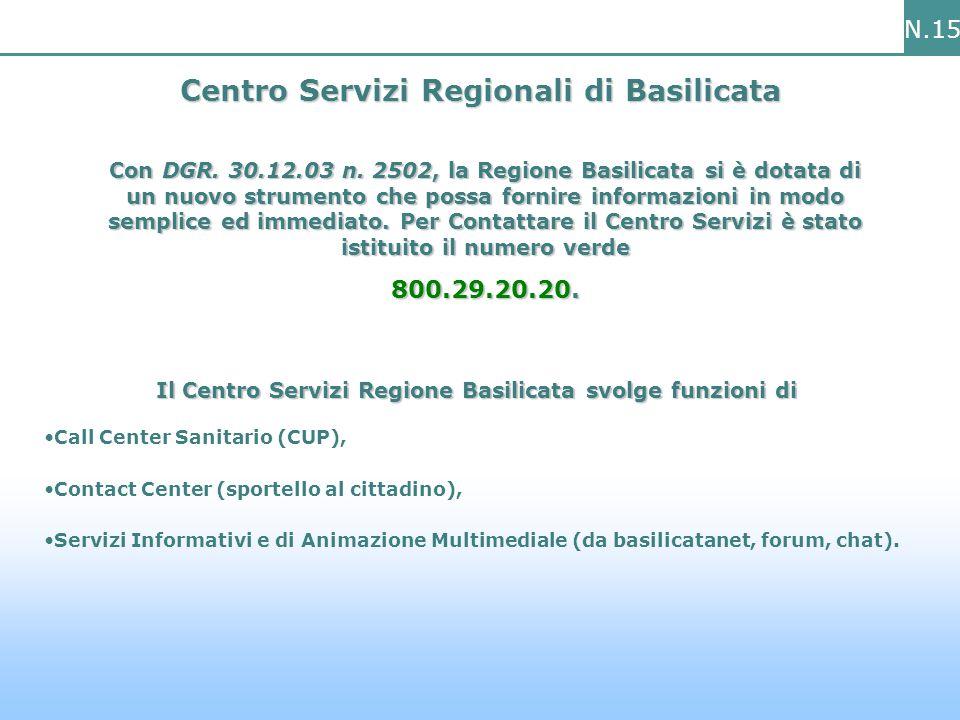 N.15 Centro Servizi Regionali di Basilicata Con DGR.