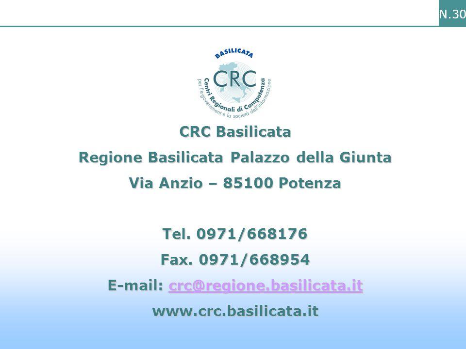 N.30 CRC Basilicata Regione Basilicata Palazzo della Giunta Via Anzio – 85100 Potenza Tel.