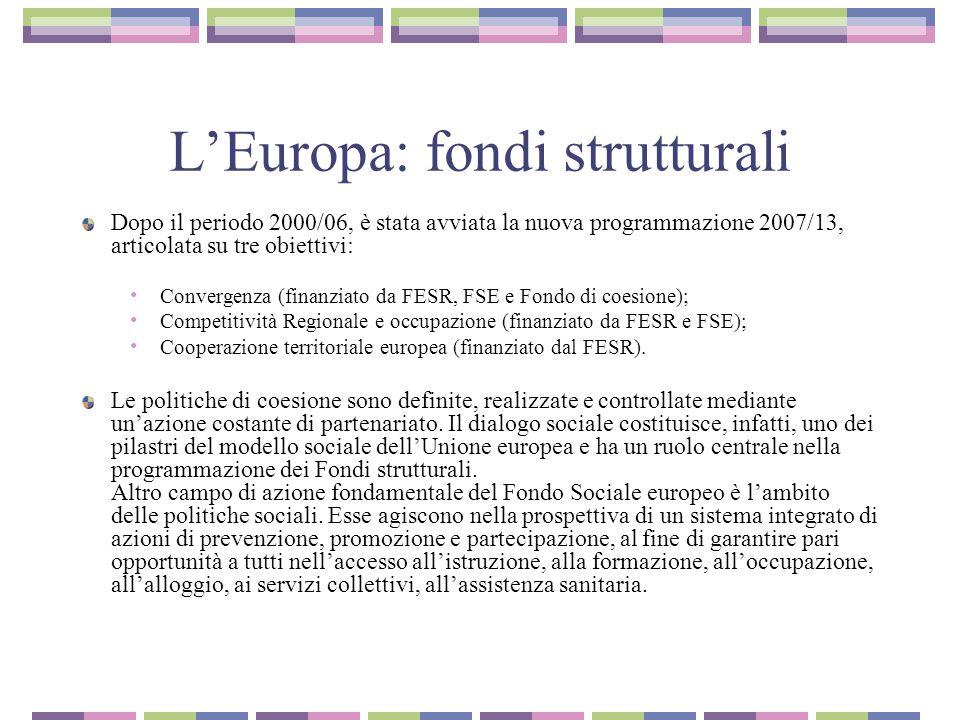L'Europa: fondi strutturali Dopo il periodo 2000/06, è stata avviata la nuova programmazione 2007/13, articolata su tre obiettivi: Convergenza (finanziato da FESR, FSE e Fondo di coesione); Competitività Regionale e occupazione (finanziato da FESR e FSE); Cooperazione territoriale europea (finanziato dal FESR).