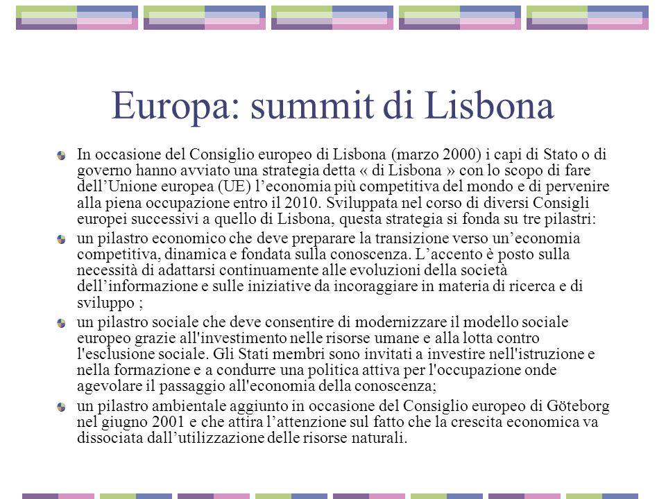 Europa: summit di Lisbona In occasione del Consiglio europeo di Lisbona (marzo 2000) i capi di Stato o di governo hanno avviato una strategia detta « di Lisbona » con lo scopo di fare dell'Unione europea (UE) l'economia più competitiva del mondo e di pervenire alla piena occupazione entro il 2010.