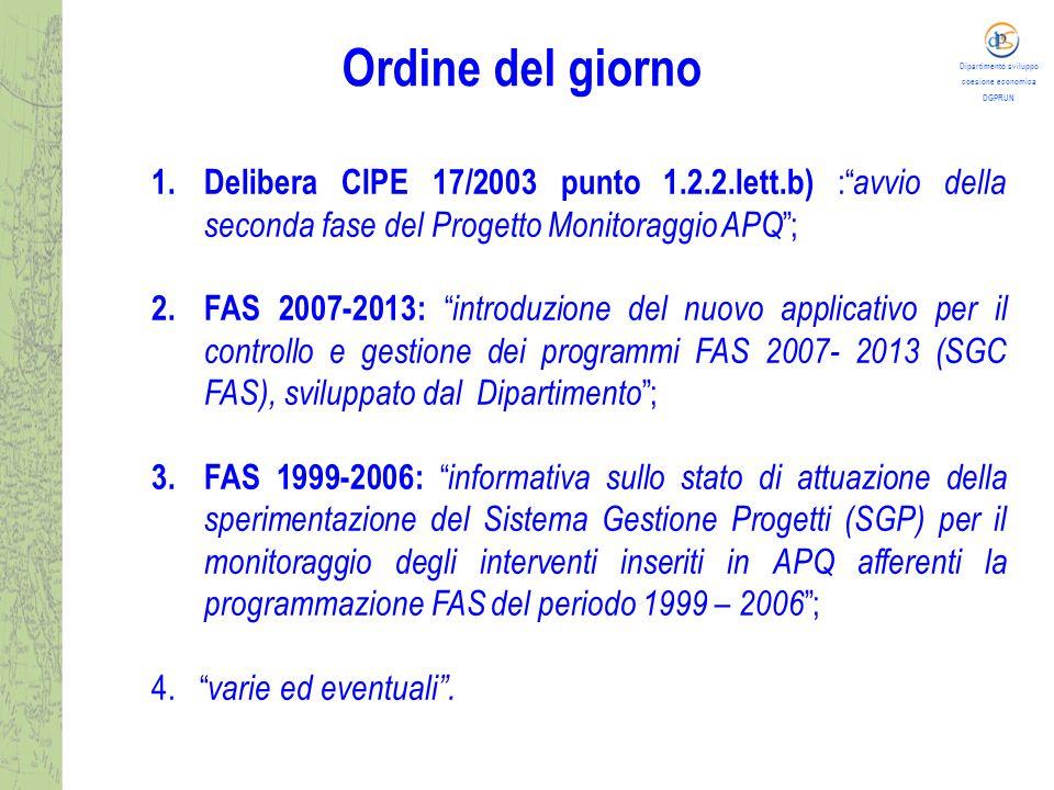 Dipartimento sviluppo coesione economica DGPRUN Punto 1 all'Odg : Del.