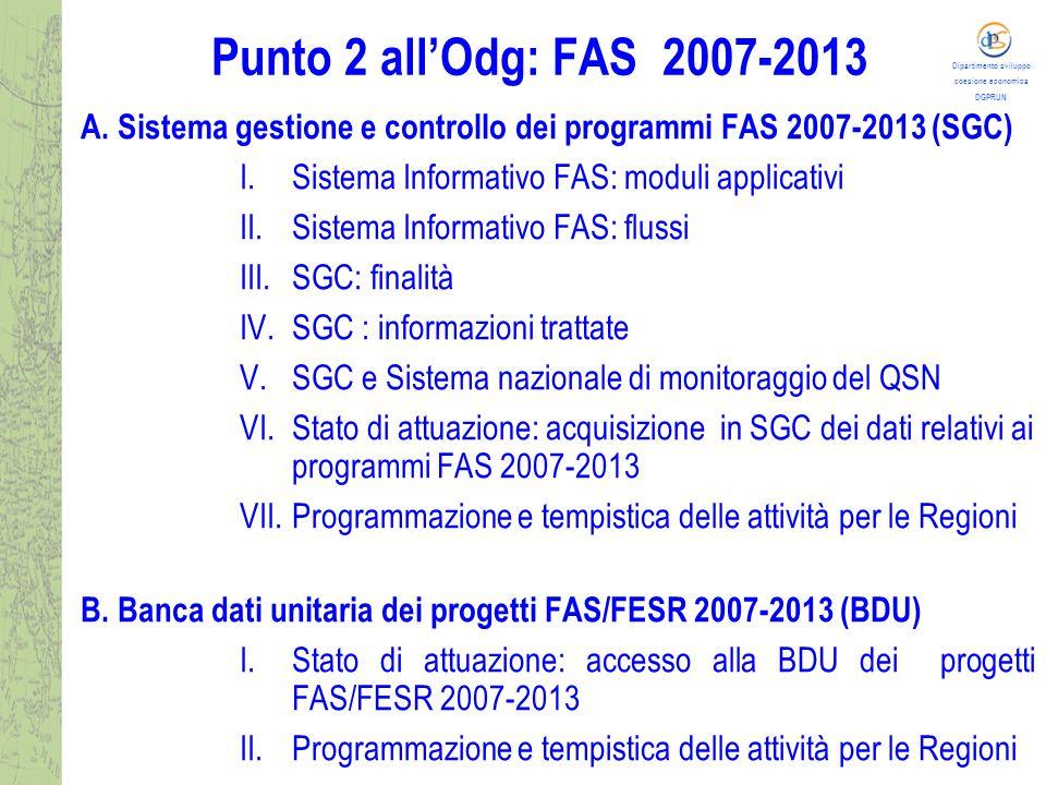 Dipartimento sviluppo coesione economica DGPRUN Punto 2 all'Odg: FAS 2007-2013 A.