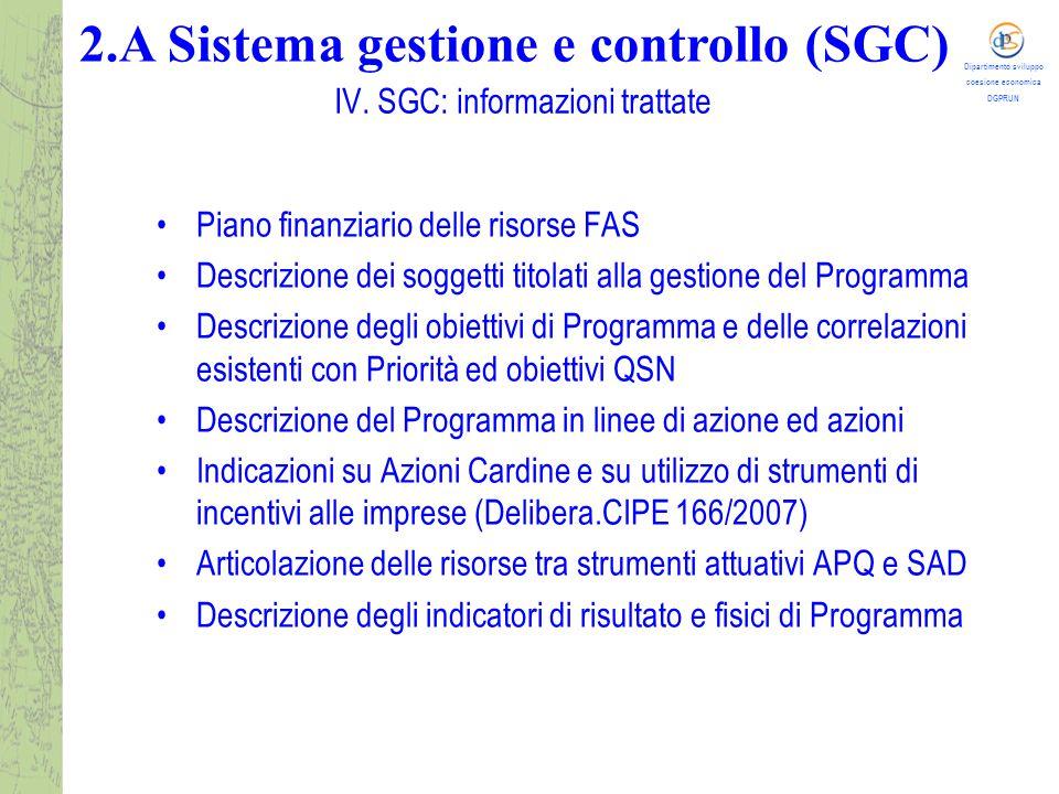 Dipartimento sviluppo coesione economica DGPRUN La comunicazione al sistema SGC dei dati di Programma consente la compilazione delle relative tabelle di contesto previste dal Sistema nazionale di monitoraggio del QSN e che verranno trasmesse dal MISE al MEF-IGRUE gestore operativo di quest'ultimo sistema.