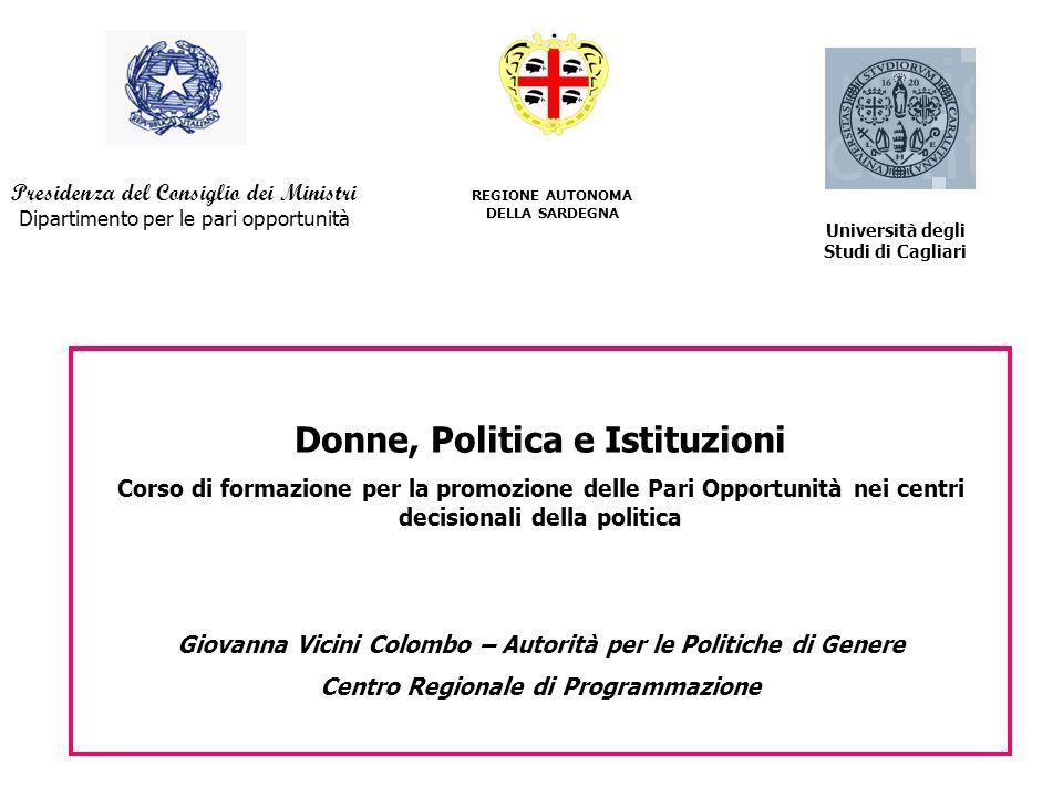 REGIONE AUTONOMA DELLA SARDEGNA Presidenza del Consiglio dei Ministri Dipartimento per le pari opportunità Donne, Politica e Istituzioni Corso di form