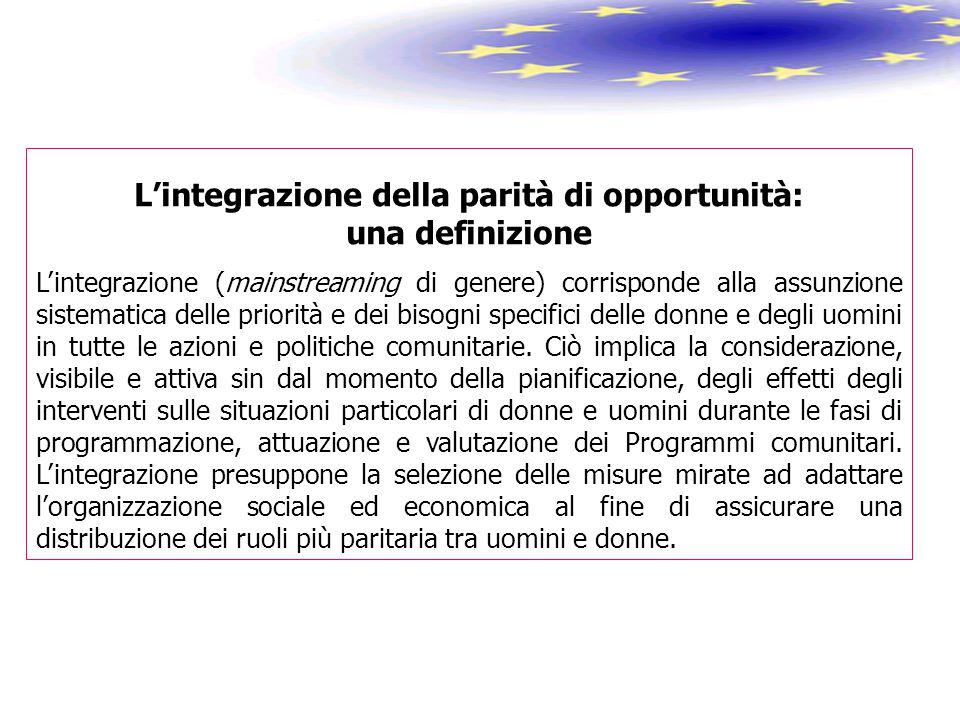 L'integrazione della parità di opportunità: una definizione L'integrazione (mainstreaming di genere) corrisponde alla assunzione sistematica delle pri