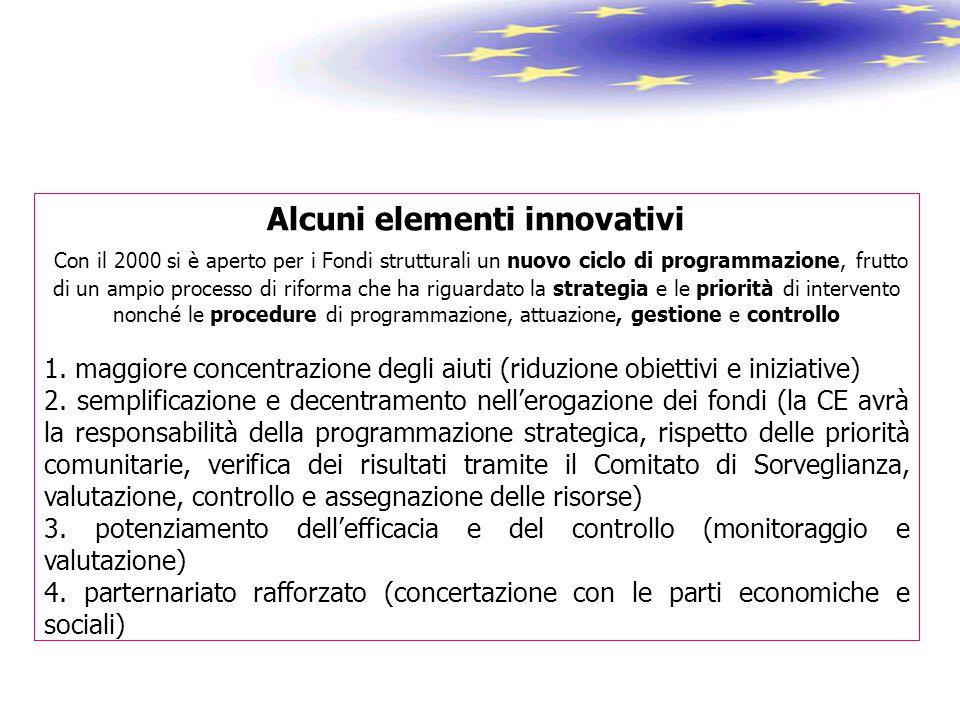 Alcuni elementi innovativi Con il 2000 si è aperto per i Fondi strutturali un nuovo ciclo di programmazione, frutto di un ampio processo di riforma ch